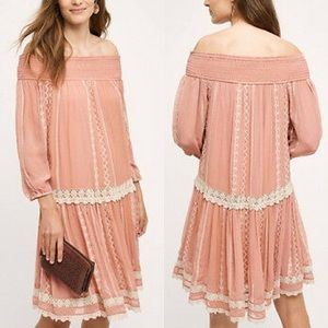 Floreat Orchard lace dusty pink off shoulder dress